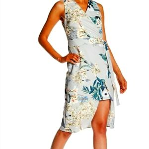 ABS Green Floral Leaves Faux Wrap Dress 14W